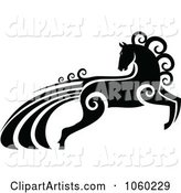 Ornate Black and White Horse with Swirls - 1