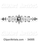 Ornate Black and White Skull and Flower Header, Divider, Banner or Lower Back Tattoo Design