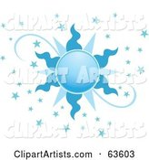 Ornate Blue Sun with Stars