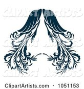 Ornate Dark Blue Angel Wings