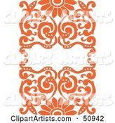 Ornate Orange Floral Background with Space for Text