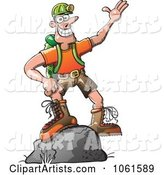 Outdoors Man Standing on a Boulder