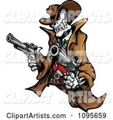 Outlaw Skeleton Cowboy Holding Two Pistols