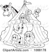 Outlined Big Top Circus Tent and Animals