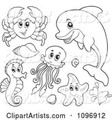 Outlined Cute Crab Dolphin Squid Seahorse and Starfish