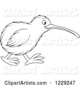 Outlined Cute Kiwi Bird