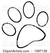 Outlined Dog Paw Print