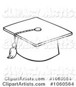 Outlined Graduation Cap and Tassel