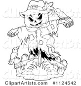 Outlined Halloween Scarecrow with Birds