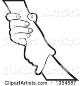 Outlined Hand Gripping Another