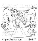 Outlined Happy Children Playing on a Bouncy House Castle