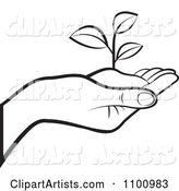 Outlined Human Hand Holding a Plant in Soil
