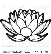 Outlined Lotus Flower