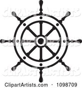 Outlined Ship Helm Wheel