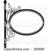 Oval Wrought Iron Storefront Sign - 1