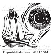 Owl Perched Atop a Cat in a Sailboat Against a Sun and Moon Black and White Woodcut
