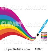 Paintbrush Painting a Creative Curvy Rainbow on White
