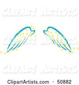 Pair of Blue Angel Wings with Yellow Magic Stars