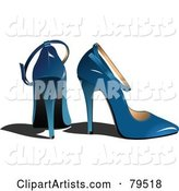 Pair of Blue High Heel Shoes