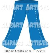 Pair of Blue Jeans with Folded Ankles
