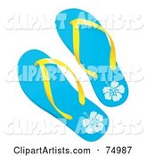 Pair of Blue Tropical Flip Flops with Yellow Plastic
