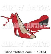 Pair of Feminine, Shiny, Red, Open Toe, High Heeled Shoes with Bows and Ribbons