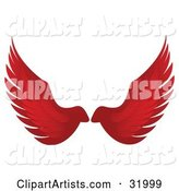 Pair of Red Bird or Angel Wings, Symbolizing Faith or Freedom, on a White Background