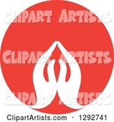 Pair of White Prayer or Namaste Hands in a Red Circle