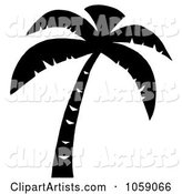 Palm Tree Silhouette in Black and White