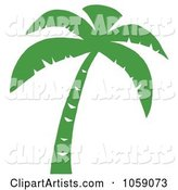 Palm Tree Silhouette in Green