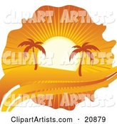 Palm Trees Silhouetted Under an Orange Sunset on a Tropical Beach