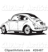 Parked Volkswagen Bug Car in Black and White