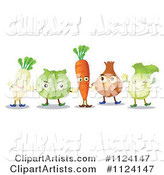 Parsnip Cabbage Carrot Onion and Lettuce Mascots Holding Hands