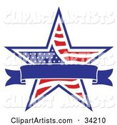 Patriotic American Star with a Dark Blue Banner