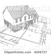 Pencil Sketch of a Home on Blueprints