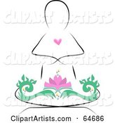 Person Outline with a Heart, Meditating