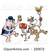 Pig Blowing a Whistle and Holding Beer, by a Cow and Chicken Holding up Beef and Poultry