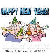 Pig Couple in Party Hats, Getting Drunk and Blowing Noise Makers Under a Happy New Year Greeting
