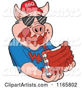 Pig Wearing Shades and a Bbq Hat and Eating Messy Ribs