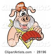 Pig with a Beard, Wearing a Bib and Chowing down on Ribs