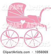 Pink Baby Carriage Pram with a Heart