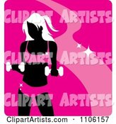 Pink Fitness Avatar with a Woman Working out with Dumbbells
