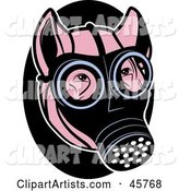 Pink Pig Wearing a Gas Mask on His Face