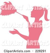 Pink Silhouetted Maid Dusting with a Feather Duster