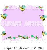 Pink Stationery Background Bordered with Flowers and Happy Honey Bees