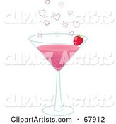 Pink Valentine Martini with Hearts and a Strawberry