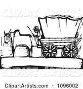Pioneer and Ox with a Covered Wagon on the Oregon Trail Black and White Woodcut