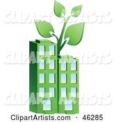 Plant Growing on Top of a Green Environmentally Friendly Apartment Building