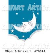 Pleasant Crescent Moon Face Relaxing in a Starry Sky over a Cloud