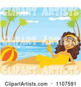 Poolside Brunette Woman with a Beach Ball and Cocktail